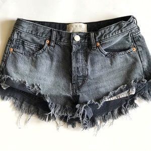 Free People Distressed Black Denim Shorts